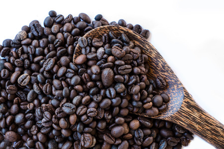 Coffee beans wood spoon photo