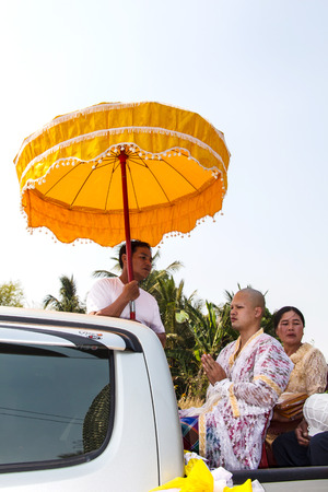 ordination: Thai new monk parade in the Newly Buddhist ordination ceremony