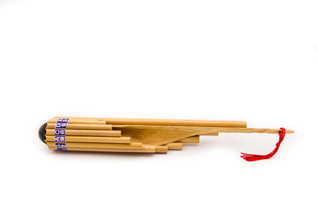 panpipe: Wot Thai is a circular panpipe used in the music of the Isan reg Stock Photo