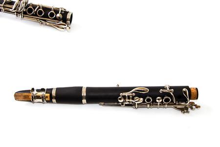 clarinet: clarinete aislado sobre fondo blanco Foto de archivo