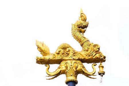 Golden naga decor thai style street light