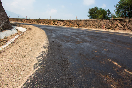 construction vibroroller: Asphalt on the road