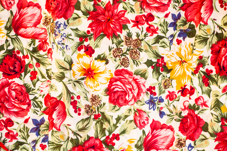 Red flowers on fabric Stock Photo - 88675549