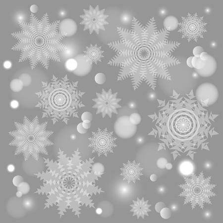 Abstract Christmas background with snowflakes Vectores
