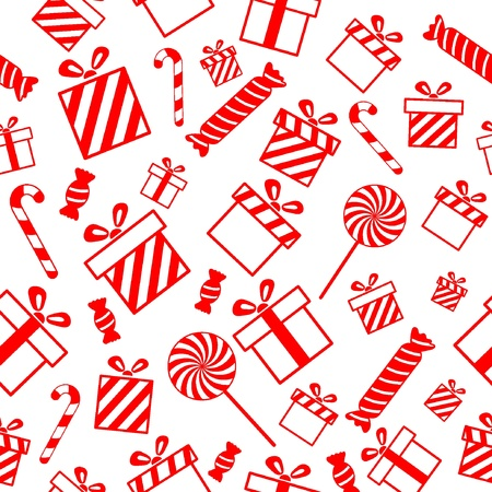 Seamless pattern with gift boxes and candies  Vectores