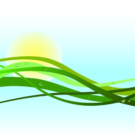 Onda verde con gocce d'acqua