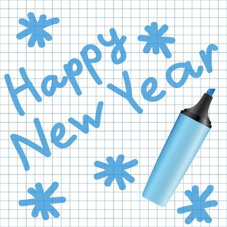 Happy New Year text written using blue marker  Illustration