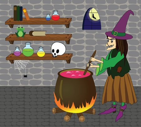 illustration of witch boiling poison in cauldron in a castle room with shelves, skull, bottles, books, spider, frog  Vector