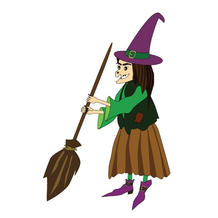 illustration of witch with a broom  Illustration