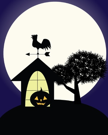 weathervane: Illustration of dark scary halloween night with haunted house, pumpkin, full moon, old tree and weathercock