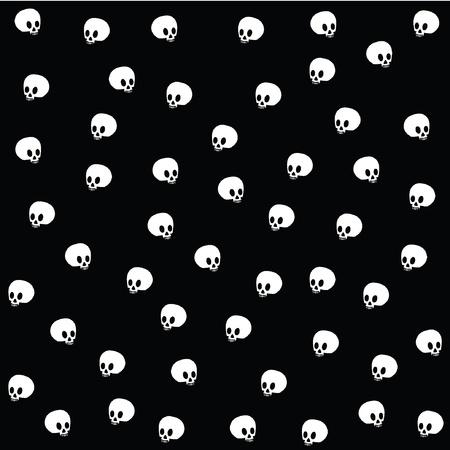 Halloween wallpaper with skulls on black  Ilustração