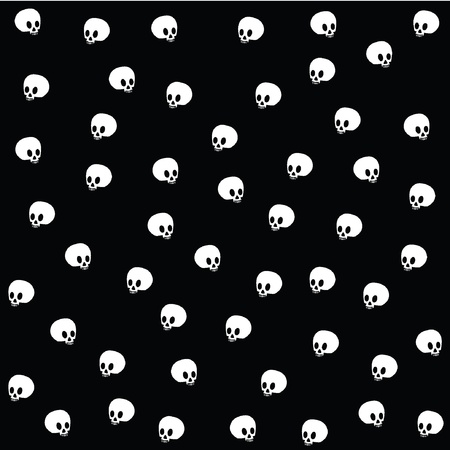 Halloween wallpaper with skulls on black  Illustration