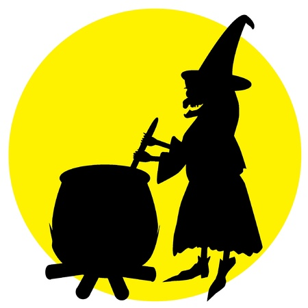 illustration of witch boiling poison in cauldron Vector