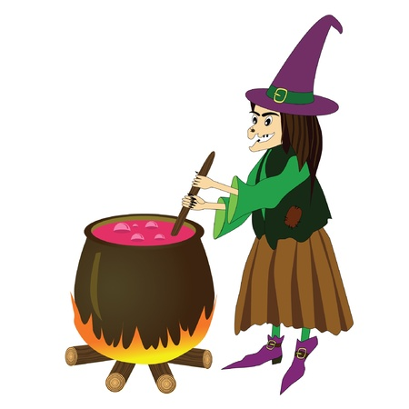 illustration of witch boiling poison in cauldron