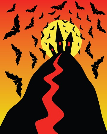 Halloween illustration with sunset, bats, hill, houses  Stock Vector - 10993844