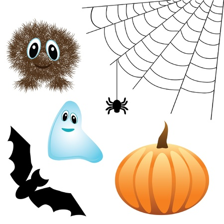 cute set of Halloween design elements  Vector