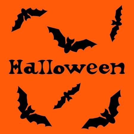 Halloween text with bats  Vector