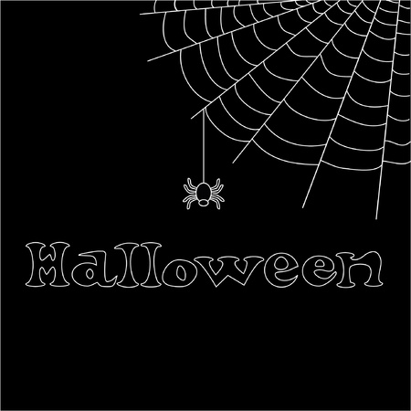 Halloween  text with net and spider  Illustration