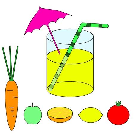 Succo di frutta sano, set di frutta e verdura. Illustrazione vettoriale, EPS8. Vettoriali