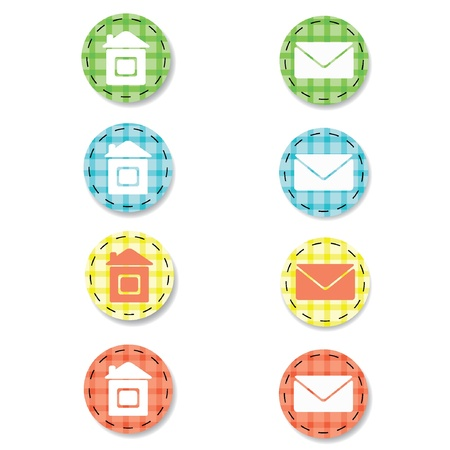 Checkered web buttons. Home and e-mail icons. Illustration EPS8  Vector