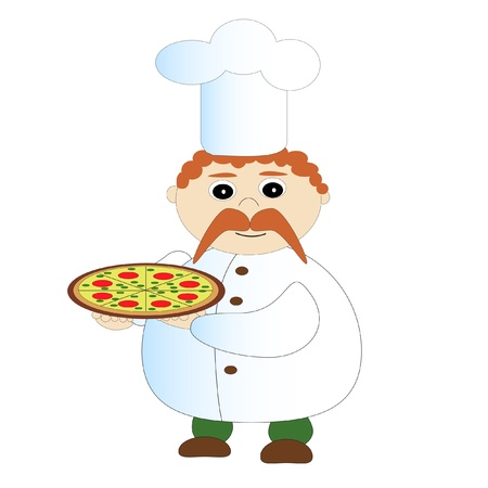 kitchener: Cook with pizza  Illustration