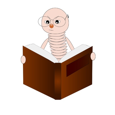 brainy: Bookworm reading a book  Illustration