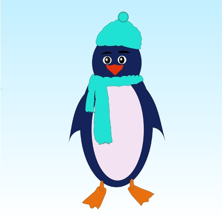 Penguin wearing hat and scarf  Stock Vector - 11053129