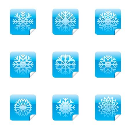 Fiocchi di neve set di adesivi quadrati lucidi con angolo.