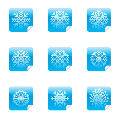 Snowflakes set of square glossy stickers with corner.  Vector