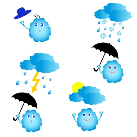 Set of vector cute weather icons. EPS8  Vector