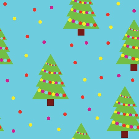 Vector seamless pattern of christmas trees and snowflakes  Vector