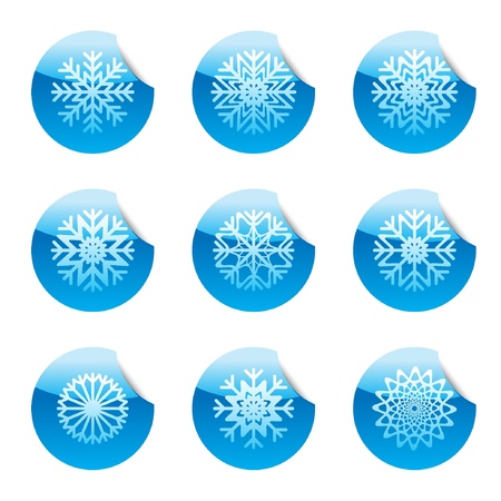 Snowflakes set of circle glossy stickers with grey corner in the top Vector