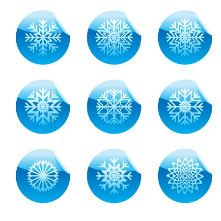 Snowflakes set of circle glossy stickers with blue corner in the top