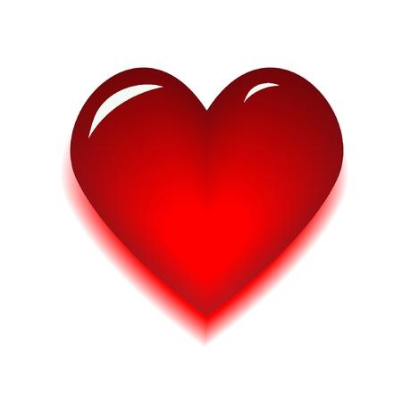 scintillio rosso lucido cuore, illustrazione vettoriale eps8