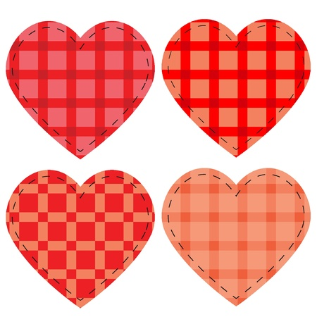Checkered vector hearts, vector illustration eps8