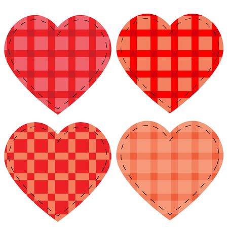Checkered vector hearts, vector illustration eps8  Vector