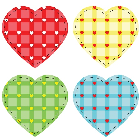 tessellated: Checkered vector hearts, vector illustration eps8