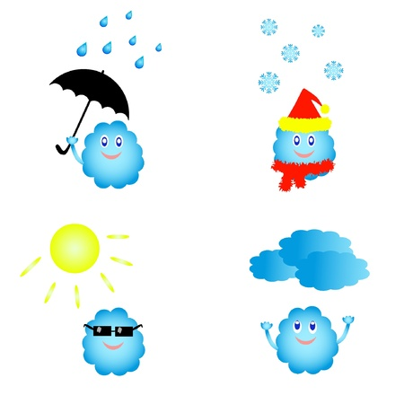 Set di icone meteo vettore cute. EPS8