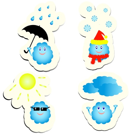 Set of vector cute weather stickers. EPS8  Vector