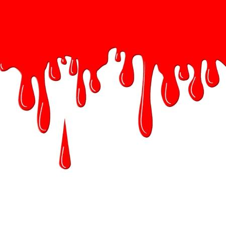 Vloeiende verf rode druppels. Vector illustratie, EPS8