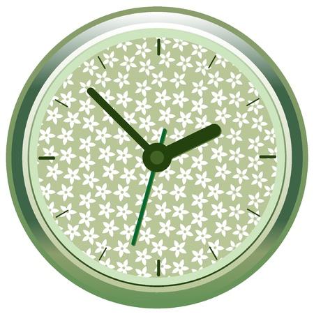 Orologio floreale. Illustrazione vettoriale EPS8