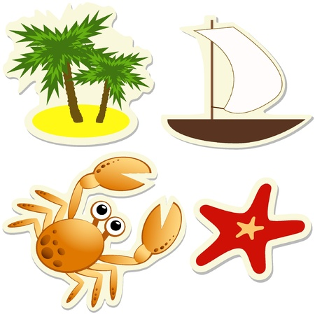 Set of vector tropical stickers. Illustration EPS8  Çizim