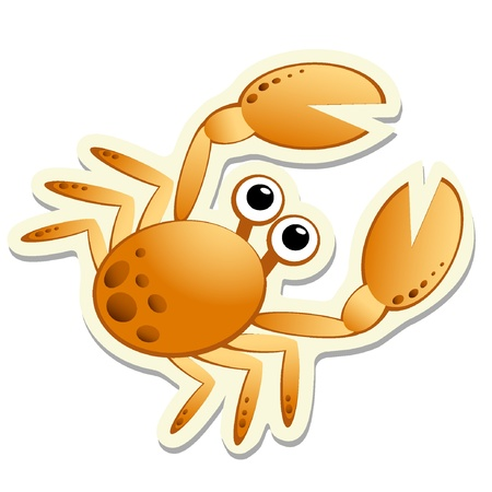 Crab sticker. Vector illustratie EPS8 Stock Illustratie