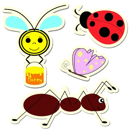 Set of vector insect stickers. Vector illustration. EPS8