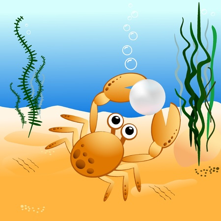 Crab holding a pearl. Vector illustration EPS8