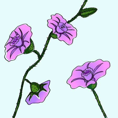Pink and lilac flowers on the blue background. Vector illustration EPS8
