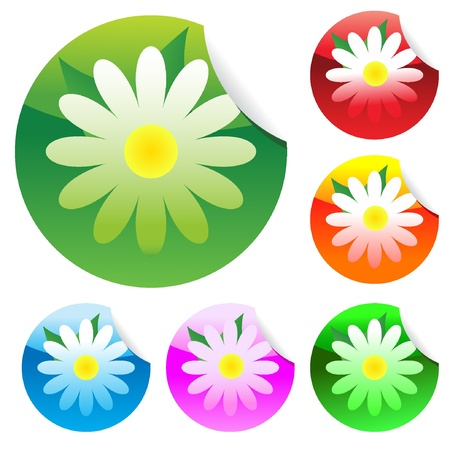 Floral set of round glossy stickers with corner. Vector illustration. EPS8  Vector
