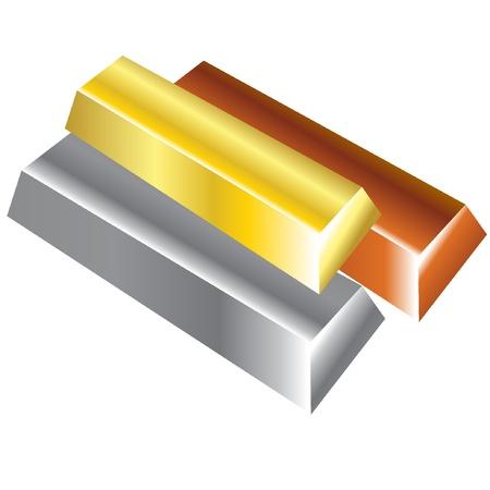 Bullions of precious metals. Vector Illustration. EPS8