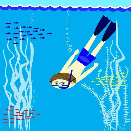 Diver. Vector illustration EPS8  Vector