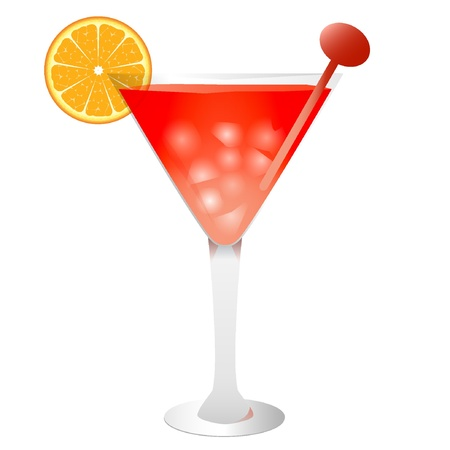 Red tropical cocktail with ice and orange. Vector illustration EPS10  Vector